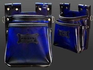 ニックス ADV-201TB-BL 鳶職向仕様ツーウエイタイプガラス革2段腰袋 ブルー
