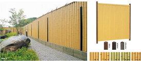 タカショー エバー9型セット 60角枯焼杉角柱 追加1800 (両面) 洗いアオ竹