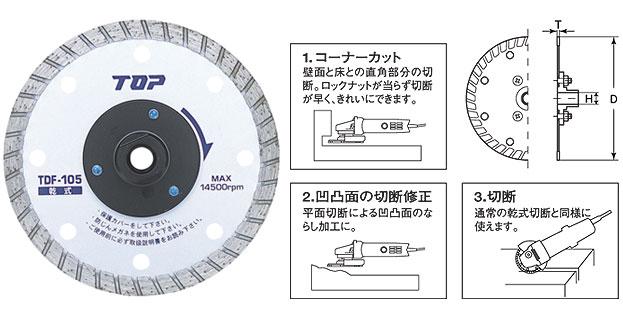 TOP トップ工業 TDF-125 フランジ付ダイヤモンドホイール