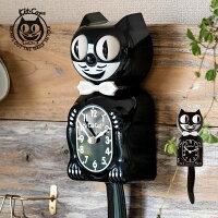 Kit-catKlockキットキャットクラシックブラック時計壁掛けクロックネコ