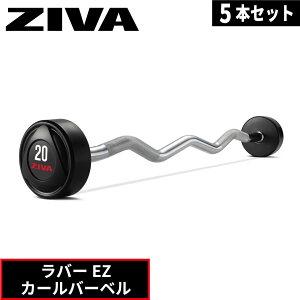 ラバーEZカールバーベル 5本セット 10kg-45kg EZ バーベル ラバー ZIVA ジーヴァ フリーウエイト トレーニング トレーニング