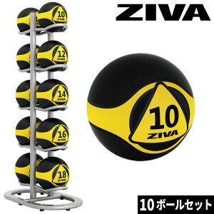 メディシンボール ウエイトボール トレーニングボール ボールツリー ラックセット ボールラック ZIVA ジーヴァ フリーウエイト トレーニング 1kgきざみ 業務用 家庭用 ボール10個セット