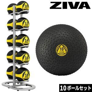 スラムボール ウエイトボール トレーニングボール ボールツリー ラックセット ボールラック ZIVA ジーヴァ フリーウエイト トレーニング 業務用 家庭用 ボール10個セット