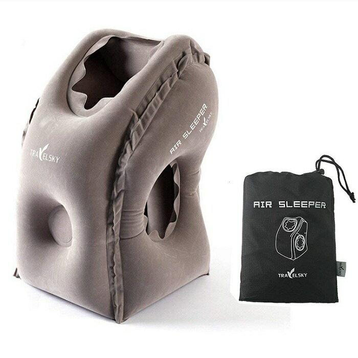 【再入荷致しました!・送料無料】トラベルピロー エアーピロー 改良版 大口径特許取得 効率50%アップ 空気枕 お昼寝 安眠グッズ 携帯便利 収納ポーチ付き オフィス 旅行 ドライブ 出張用 グレーカラー
