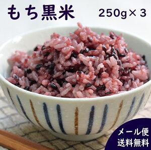 国産雑穀 黒米 750g(250g×3袋) メール便送料無料 農薬不使用「がんこおやじのもち黒米」古代米 低GI値 アントシアニン ポリフェノール 美味しい おいしい 玄米 もち米