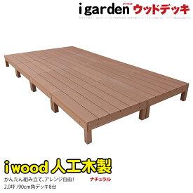 アイウッドデッキ オープンタイプセット ナチュラル◯ [8点セット] 2坪| 人工木 アイガーデンオリジナル ウッドデッキ 樹脂 縁台