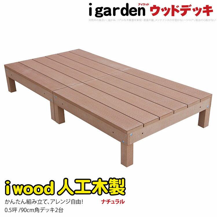 アイウッドデッキ 2点セット 0.5坪 ナチュラル ウッドデッキ 樹脂 人工木 木製デッキ エクステリア 縁台 アイガーデンオリジナル 人工木デッキ 樹脂デッキ RCP 送料無料