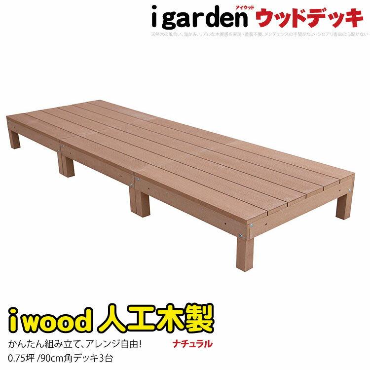 アイウッドデッキ 0.75坪 3点セット ナチュラル 木製デッキ 樹脂木 縁台 ウッドデッキ 人工木 樹脂 人工木ウッドデッキ 樹脂デッキ RCP i10368_3d