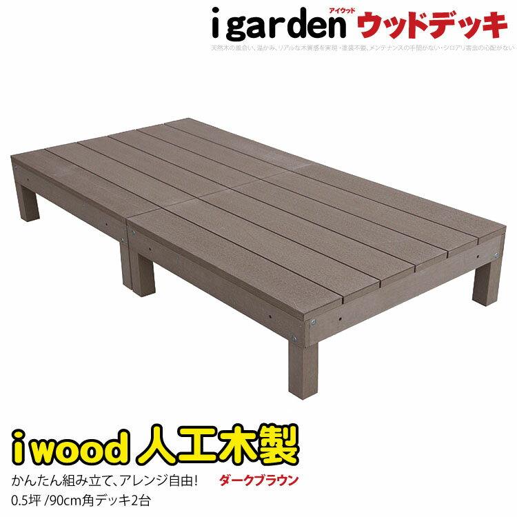 アイウッドデッキ 2点セット 0.5坪 ダークブラウン ウッドデッキ 人工木 樹脂 アイガーデンオリジナル 木製デッキ 人工木ウッドデッキ 樹脂木ウッドデッキ 縁台 RCP 送料無料