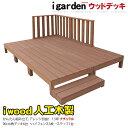 アイウッドデッキハイフェンス10点セット 1.5坪 ナチュラル ウッドデッキ 樹脂 木製デッキ 縁台 RCP