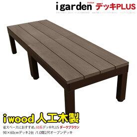 アイウッドデッキPLUS60系 2点セット ダークブラウン アイガーデンオリジナル 人工木 ウッドデッキ 樹脂 木製デッキ 樹脂木 木樹脂 プラウッド セット 縁台 RCP 送料無料