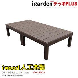 アイウッドデッキPLUS 2点セット 0.5坪 ダークブラウン アイガーデンオリジナル 人工木ウッドデッキ セット 木製デッキ 樹脂木ウッドデッキ ウッドデッキ 樹脂 人工木 木樹脂 縁台 RCP 送料無料