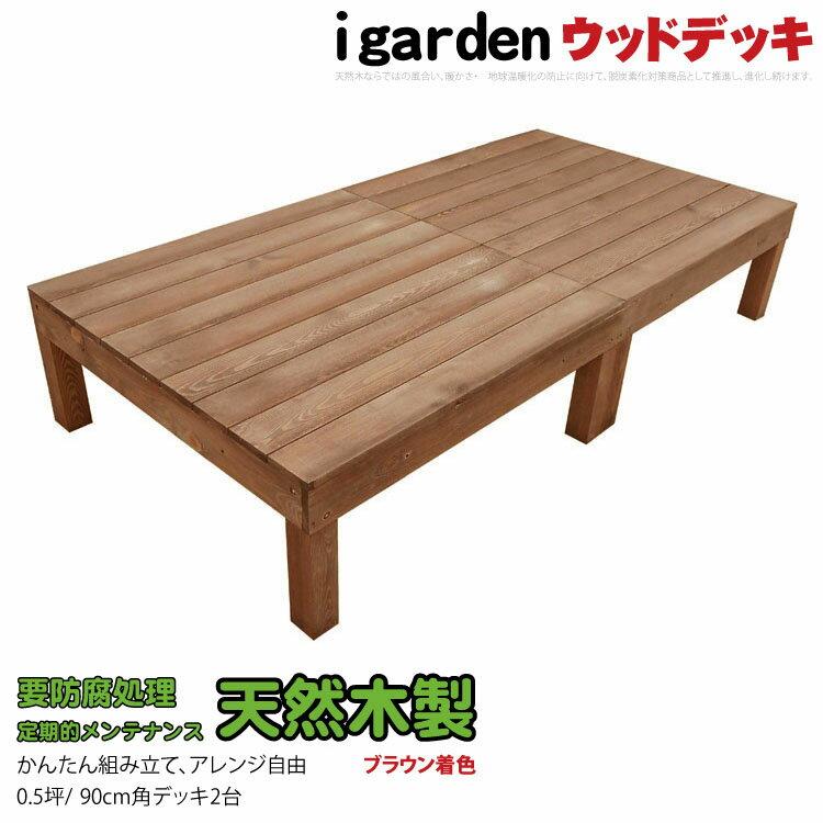 5月末から出荷 天然木製 ウッドデッキ 2点セット 0.5坪 ブラウン 1.0間3尺 木製デッキ アイガーデンオリジナル セット 縁台 天然木ウッドデッキ RCP HLS_DU 送料無料