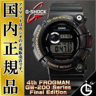 "G打击蛙人GW-200Z-1JF CASIO G-SHOCK FROGMAN卡西欧强壮的太阳能型""200系列""最后版本黑色派手表"