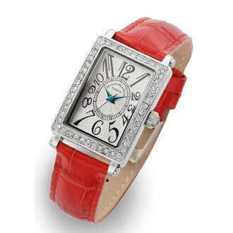 那个桑德拉气氛手表ALESSANDRA OLLA钟表AO-1500-1 RE皮革白表盘女士