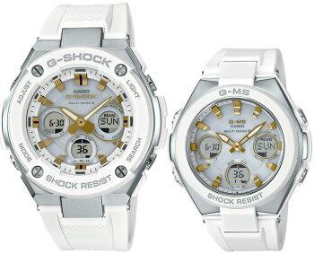 ペアボックス対応G-SHOCKBABY-Gタフソーラー電波時計G-STEELG-MSペアモデルGST-W300-7AJF-MSG-W100-7A2JFホワイト&ゴールドデジタル&アナログ白金メンズレディスレディース腕時計【あす楽】【在庫あり】