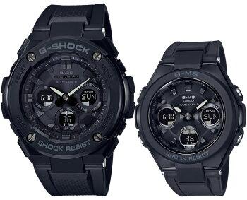 ペアボックス対応G-SHOCKBABY-Gタフソーラー電波時計G-STEELG-MSペアモデルGST-W300G-1A1JF-MSG-W100G-1AJFオールブラックデジタル&アナログ黒メンズレディスレディース腕時計