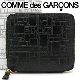 コムデギャルソン 二つ折り財布 COMME des GARCONS コンパクト財布 レディース メンズ ブラック SA2100EL EMBOSSED LOGOTYPE BLACK 【あす楽】【送料無料】