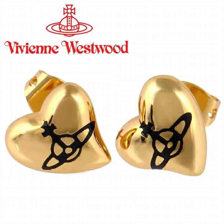 ヴィヴィアンウエストウッド ピアス Vivienne Westwood ヴィヴィアン ハートスタッドピアス ゴールド×ブラック 【あす楽】