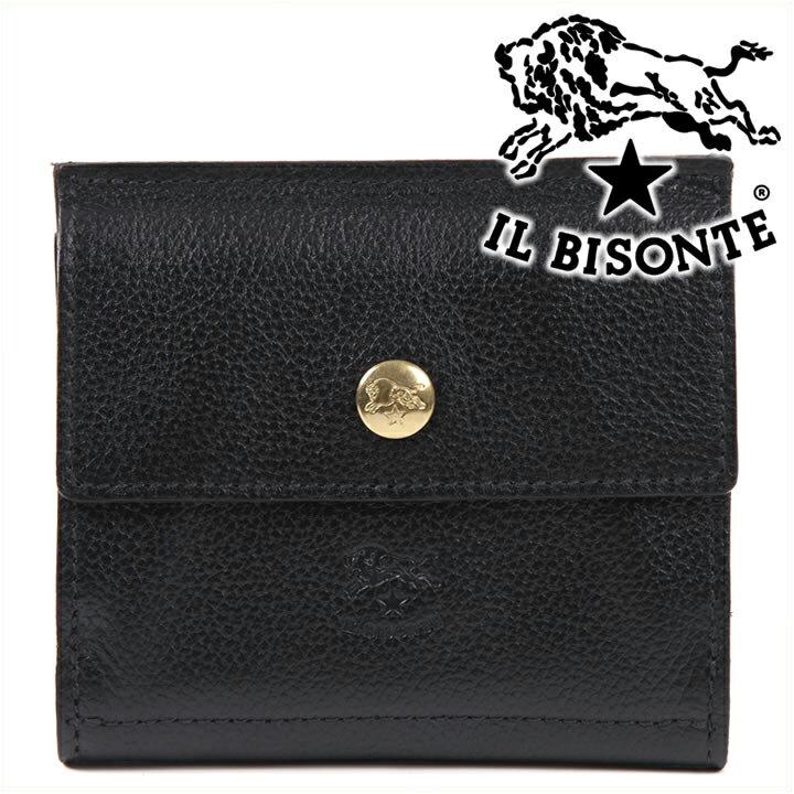 イルビゾンテ 二つ折り財布 IL BISONTE Wホック財布 本革 レディース メンズ ブラック C0910 135(153) 【送料無料】【あす楽】