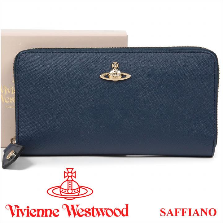ヴィヴィアンウエストウッド 長財布 ヴィヴィアン メンズ レディース Vivienne Westwood ラウンドファスナー財布 ブルー 321407 OPIO SAFFIANO BLUE 【送料無料】【あす楽】【春財布 福財布】