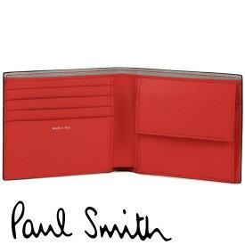 ポールスミス 財布 Paul Smith 二つ折り財布 メンズ ブラック シグナルレッド ライトグレー M1A-4833-ASTRGS 79A 【あす楽】【送料無料】【並行輸入品】