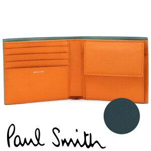 【スーパーSALEポイントアップ】 ポールスミス 財布 Paul Smith 二つ折り財布 メンズ ダークテールグリーン オレンジ ミントグリーン M1A-4833-FSTRGS 37 【あす楽】【送料無料】【並行輸入品】