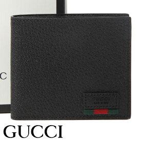 グッチ 財布 GUCCI 二つ折り財布 小銭入れなし ウェブ付き メンズ ブラック 428749-DJ21T-1060 【あす楽】【送料無料】