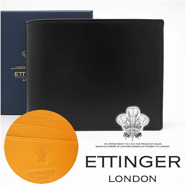 エッティンガー 財布 ETTINGER 二つ折り財布 メンズ ブラック 141JR BLACK 【あす楽】【送料無料】