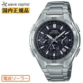 カシオソーラー電波時計チタンモデルWVQ-M410TD-1AJFご自分でベルト調節できます!CASIOWaveCeptorウェーブセプタークロノグラフブラックフェイスメンズ腕時計