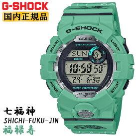 カシオ Gショック 七福神 福禄寿 GBD-800SLG-3JR CASIO G-SHOCK CHICHI-FUKU-JIN G-SQUAD ジー・スクワッド Bluetooth搭載 スマートフォンリンク ライトグリーン 黄緑 メンズ 腕時計