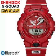カシオGショックジー・スクワッドエバーラストコラボレッドGBA-800EL-4AJRCASIOG-SHOCKG-SQUADEVERLASTボクシングフィットネスブランドBluetooth搭載デジタル&アナログコンビネーション赤メンズ腕時計
