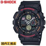 カシオGショックブラック&マルチカラーGA-140-1A4JFCASIOG-SHOCKデジタル&アナログコンビネーションモデル黒メンズ腕時計