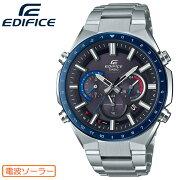 カシオエディフィス電波ソーラーシルバー&ブラックEQW-T660DB-1BJFCASIOEDIFICE電波時計クロノグラフ銀黒ブルーベゼル青メンズ腕時計