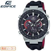 カシオエディフィス電波ソーラーシルバー&ブラックEQW-T660BL-1BJFCASIOEDIFICE電波時計クロノグラフレザーバンド銀黒赤メンズ腕時計