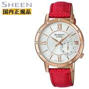 カシオシーンスワロフスキーエレメントゴールド&レッドSHE-3046GLP-7BJFCASIOSHEENアナログレディスレディース腕時計