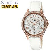 カシオシーンスワロフスキーエレメントゴールド&ホワイトSHE-3062PGL-7AJFCASIOSHEENアナログレザーバンドレディスレディース腕時計