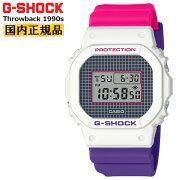 カシオGショックオリジンスローバック1990sホワイト&ピンク&パープルDW-5600THB-7JFCASIOG-SHOCKThrowbackBABY-G25周年記念カラー白紫デジタルメンズ腕時計