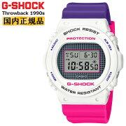カシオGショックスローバック1990sホワイト&パープル&ピンクDW-5700THB-7JFCASIOG-SHOCKThrowbackBABY-G25周年カラーデジタル白紫メンズ腕時計