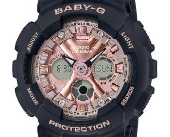 カシオベビーGブラック&ピンクゴールドBA-130-1A4JFCASIOBABY-Gデジタル&アナログコンビネーション黒金色レディスレディース腕時計