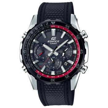 カシオエディフィス電波ソーラーブラック&シルバーEQW-T670PB-1AJFCASIOEDIFICEサファイアガラスクロノグラフウレタンバンドアナログ黒銀色メンズ腕時計