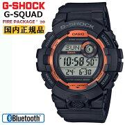 カシオGショックジー・スクワッド限定ファイアー・パッケージ2020年モデルスマートフォンリンクブラック&オレンジGBD-800SF-1JRCASIOG-SHOCKG-SQUADBluetooth搭載スマートフォンリンクデジタル黒メンズ腕時計
