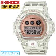 カシオGショックミッドサイズモデルスケルトンホワイト&ピンクゴールドGMD-S6900SR-7JFCASIOG-SHOCKDW-6900の一回り小さいサイズデジタルボーイズサイズ腕時計