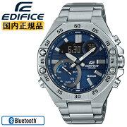 カシオエディフィススマートフォンリンク機能シルバー&ネイビーECB-10YD-2AJFCASIOEDIFICEBluetooth搭載クロノグラフデジタル&アナログコンビネーション銀色紺色メンズ腕時計