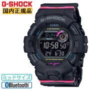 カシオGショックスマートフォンリンクミッドサイズブラック&ピンクGMD-B800SC-1JFCASIOG-SHOCKBluetooth搭載デジタルワークアウト黒メンズ腕時計(GMDB800SC1JF)