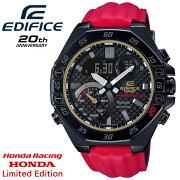 カシオエディフィス20周年記念限定ホンダレーシング・リミテッドエディションブラック&レッドECB-10HR-1AJRCASIOEDIFICEHONDARacingLimitedEditionデジタル&アナログコンビネーションBluetooth搭載スマートフォンリンクメンズ腕時計(ECB10HR1AJR)