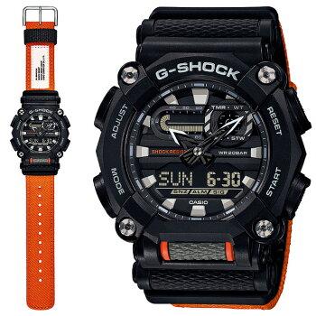 [発売日に発送できます!]カシオGショックブラック&オレンジGA-900C-1A4JFCASOG-SHOCK工業デザインモチーフヘビーデューティーデジタル&アナログコンビネーション黒メンズ腕時計(GA900C1A4JF)
