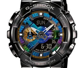 [発売日に発送できます!]カシオGショックメタルカバードブラック&マルチカラーGM-110B-1AJFCASIOG-SHOCKMetalCoveredデジタル&アナログコンビネーション黒メンズ腕時計(GM110B1AJF)