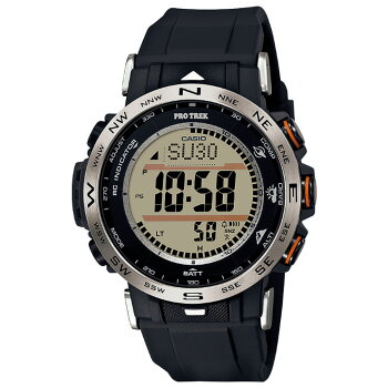 [発売日に発送できます!]カシオプロトレック電波ソーラートリプルセンサーミッドサイズブラック&シルバーPRW-30-1AJFCASIOPROTREKClimberLineクライマーラインデジタルSTN液晶緑黒銀色メンズレディス男女兼用腕時計(PRW301AJF)