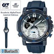 [発売日に発送できます!]カシオエディフィススクーデリア・アルファ・タウリコラボグラデーション文字板ECB-20AT-2AJRCASIOEDIFICEScuderiaAlphaTauriLimitedEditionレザーバンドスマートフォンリンクBluetooth搭載メンズ腕時計(ECB20AT2AJR)